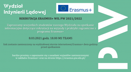 Recruitment for Erasmus+ 2021/2022 – appointment March 8, 18:00 h