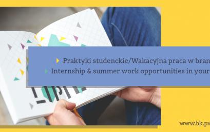 Biuro Karier Politechniki Warszawskiej zaprasza wszystkich studentów poszukujących praktyk oraz wakacyjnej pracy w interesujących branżach
