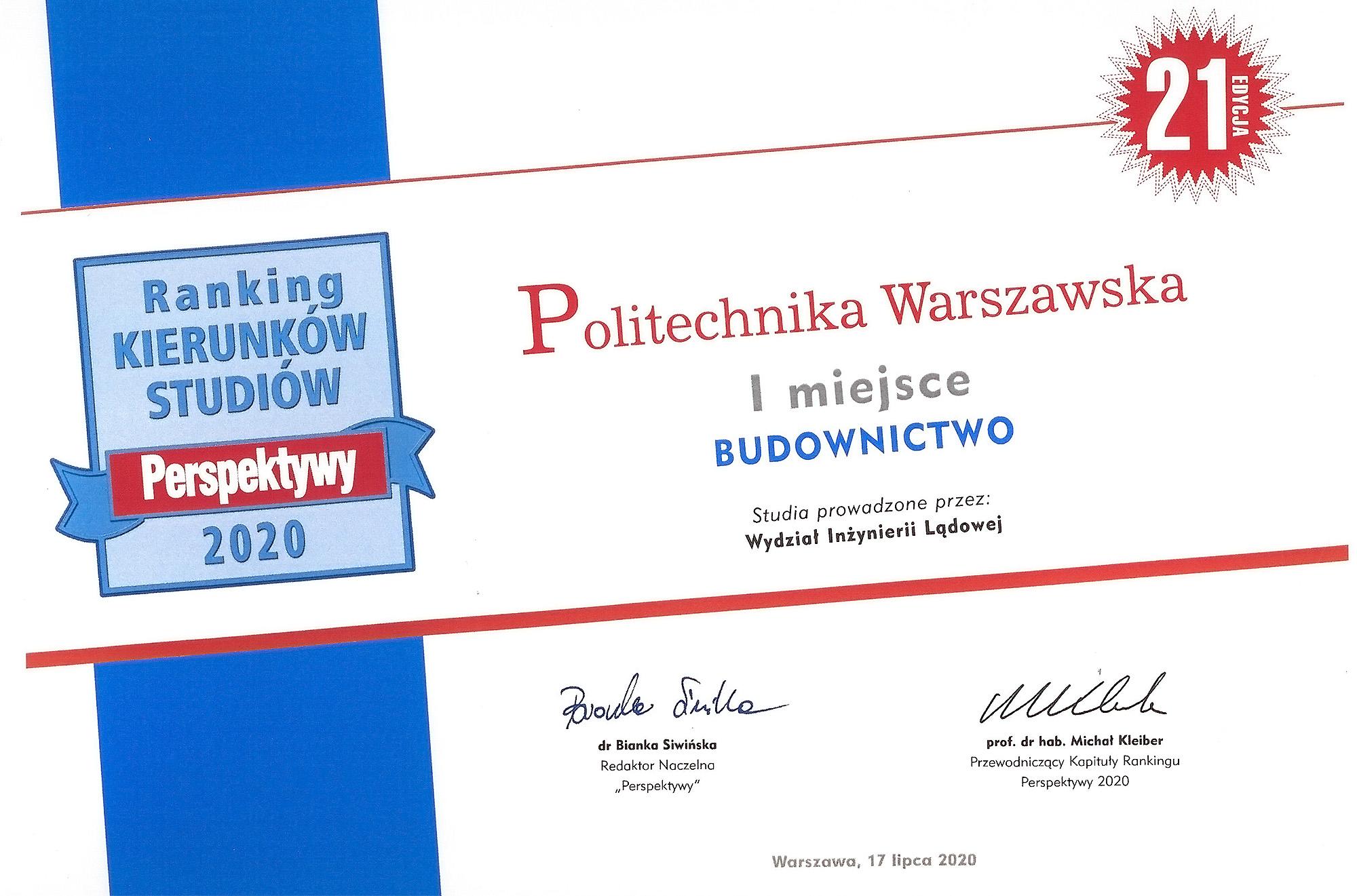 I miejsce w rankingu Perspektywy 2020!